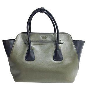Prada military Nero leather satchel handbag